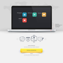 Design elements: mock-up template with computer laptop and icons