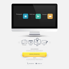 Design elements: Mock-up  template with wide screen and icons