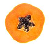fresh ripe juicy papaya slice  on white background