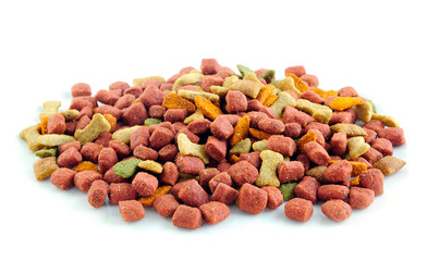 Dry dog food on white background.