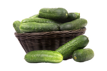 basket with cucumbers