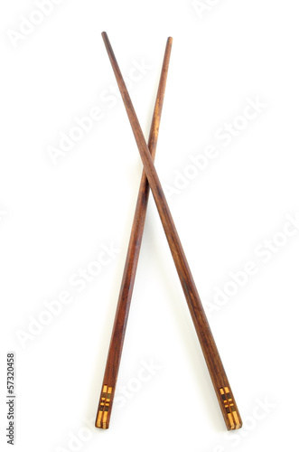 Wooden chopsticks, isolated on white background.
