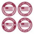 Set of grunge patriotic flag rubber stamp icons