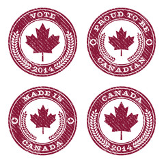 Set of grunge Canada maple leaf rubber stamp icons