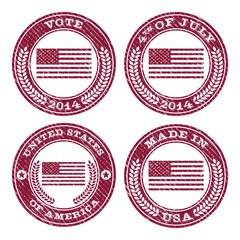Set of grunge patriotic flag rubber stamp icons