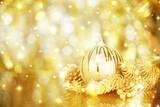 Fototapety Golden Christmas decorations