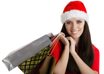 Christmas Girl Carrying Shopping Bags