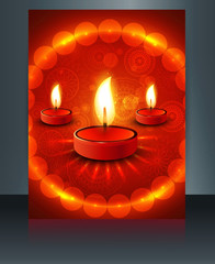 Fantastic happy diwali brochure card template celebration vector