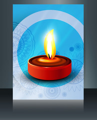 Beautiful diwali card brochure reflection vector