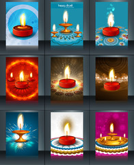 Beautiful template diwali 9 collection colorful brochure vector