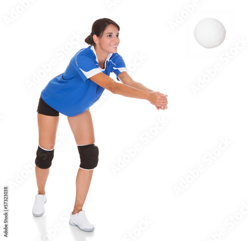 Young Woman With Volleyball