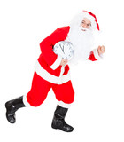 Santa running with clock