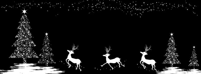 Black and white christmas tree and deers - facebook cover