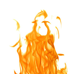 dark orange flame isolated on white