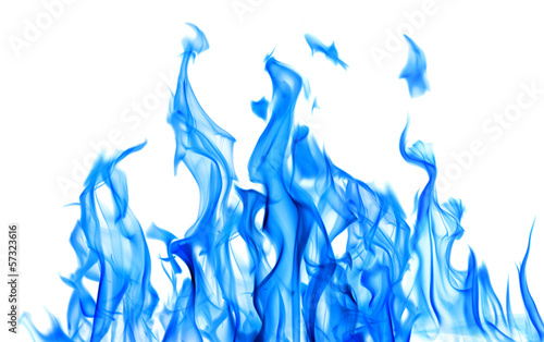 blue fire sparks isolated on white