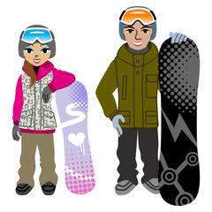 Snowboarding couple,Isolated