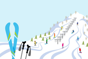 Ski slope, Horizontal
