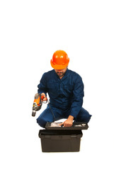 Electrician worker with box