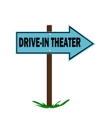 drive in theater sign with arrow