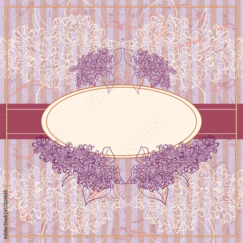 Vector Vintage Floral Frame With Blooming Lilac.