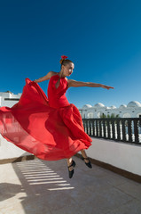 Flamenco dancer in flight