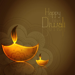 Hindu festival Diwali illuminating Diya colorful vector illustra