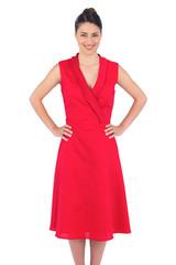 Smiling elegant brunette in red dress posing
