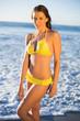 Attractive woman in bikini posing in the sea