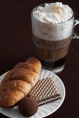 Viennese coffee with tasty dessert