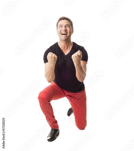 Happy successful man on white background