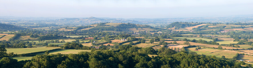 View across the Somerset Levels from the Mendip hills,England