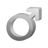 3D gray male sex symbol