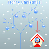 Merry christmas card with Snow tree and bird