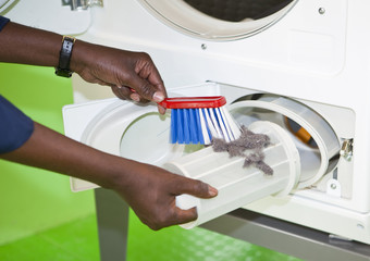 Cleaning the laundromat
