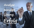 Elegant businessman writing marketing terms in german