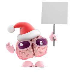 Santa brain with placard