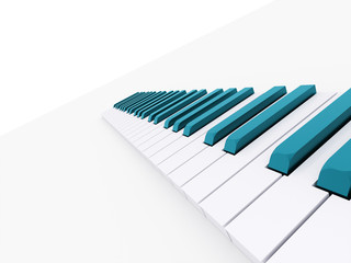 Blue piano keyboard rendered