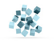 Many blue cubes rendered isolated