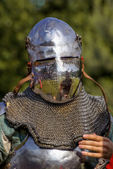 Medieval knight in helmet