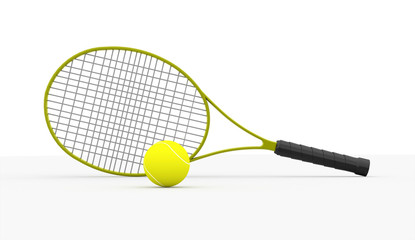Tennis racket rendered isolated on white