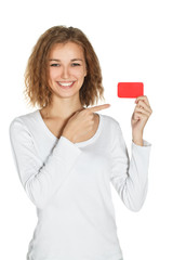 Young girl with card