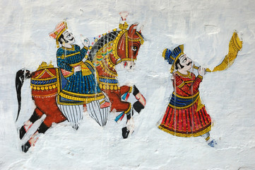 Traditional colourful medieval wall painting in Udaipur,India