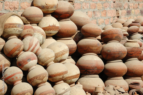 Traditional nepalese pottery produced by Bishnou people,India