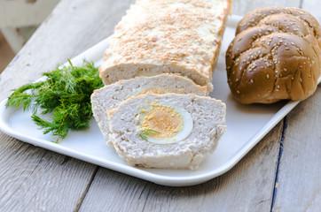 Turkey and quark terrine with hard boiled egg