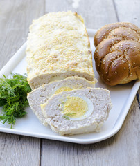 Turkey and quark terrine with hard boiled egg