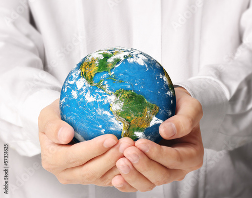 earth in human  hand