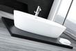Closeup of luxury white bathtub standing on wooden floor