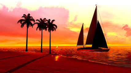 Hawaiian sunset in tropical paradise with yacht