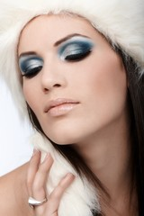 Closeup portrait of winter beauty