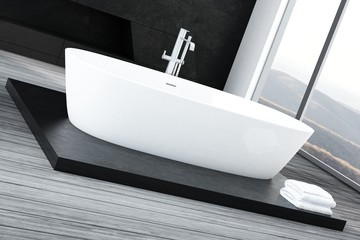 Closeup of luxury white bathtub standing on wooden floor